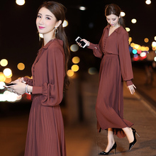 2017 spring and autumn season, new women's fashion temperament, long sleeves show slim, loose, pleated shirt, dress(China)