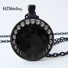 2017 New Arrival Wiccan Pendant Necklace Lunar Cycle Moon Phases Moon Nebula Necklace Glass cabochon jewelry HZ1(China)