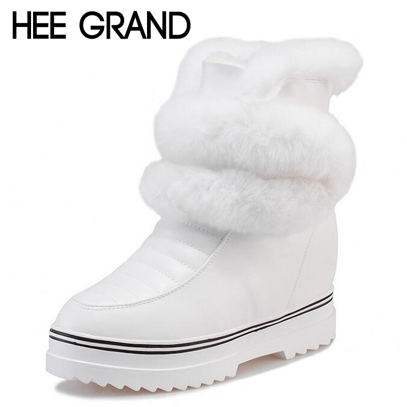 HEE GRAND White Waterproof Warm Fur Snow Boots Thick Bottom Platform Height Increasing Warm Plush Ankle Boots XWX5430<br><br>Aliexpress