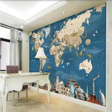beibehang Retro nostalgia world map background wall custom large mural green silk cloth material wallpaper papel de parede(China)