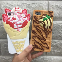 Fashion Delicious Ice Cream Chocolate Biscuit Cute Cartoon Rubber Soft Silicone Phone Case For iPhone 7 7Plus 6 6S Plus Cover