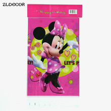 ZLDECOR 108cm Pink Minnie Mouse Plastic Tablecloth for Cartoon kids happy birthday party plastic tablecover supplies disposable