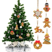 6pcs/lot Christmas Ornament Polymer Clay Pendants Tree Hanging Gift Decoration New Year Decoration