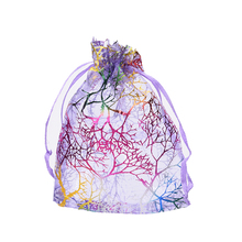 New25Pcs 12X9cm Coralline Organza Jewelry Pouch Wedding Party Favor Gift Bag Hot Drawstring Christmas Packaging Bags