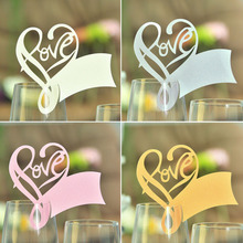 New 50pcs Love Heart Place Escort Wine Glass Cup Paper Card for Wedding Party Home Decorations White Silver Pink Gold Name Cards(China)