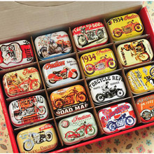 American Style Mini Diy Tin Box Vintage Handmade Small Metal Tins Storage Box Organizer Pill Tea Coin Case Container 12pcs/lot