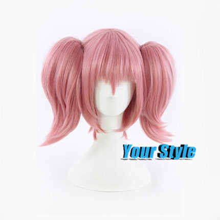 Japanese Mahou Shoujo  Kaname Madoka Costume  Cosplay Wig Synthetic Medium Long Ponytails Clips on Two Ponytails Perruque <br><br>Aliexpress