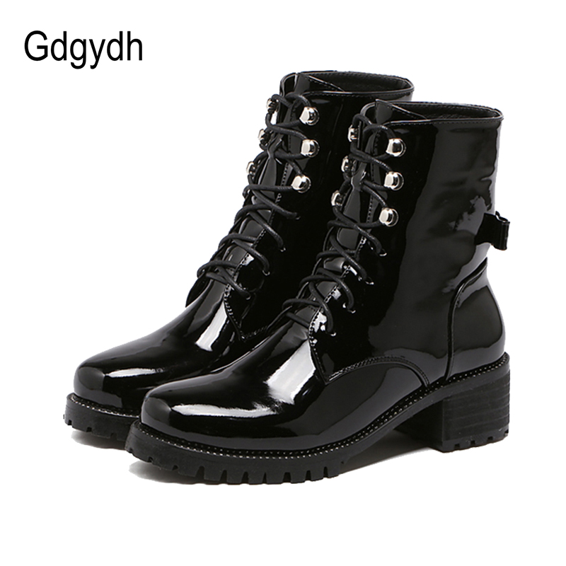 Gdgydh Fashion Rhinestone Riding Ankle Boots For Women 2017 Spring Autumn Lace-up Soft Leather Women Shoes Heels Butterfly-knot<br>