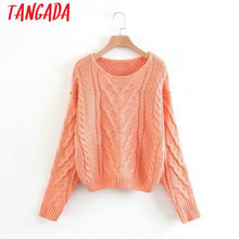 Tangada Women Twisted Sweater Orange Warm Pullovers American Fashion Sweaters Ladies Pullover Jumper Knit Top LJ05(China)