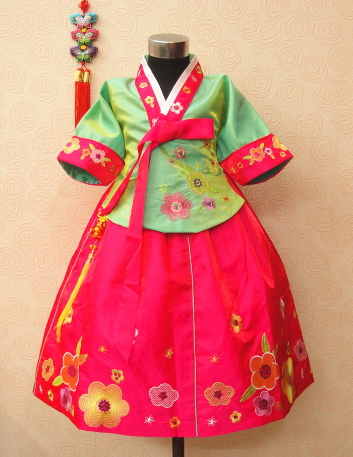 Rabbit fengliu child hanbok female child dress flower girl formal dress performance wear costume<br>