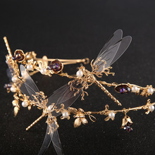 1pcs  Noenname_null  Hot Hand Crown Head Hoop Headdress Transparent Dragonfly Lady Headband  Metal Hair Combs