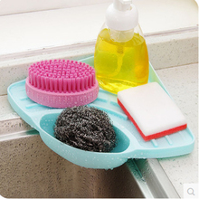 Keythemelife 1pcs Sink Corner Storage Rack Sponge Holder pink blue green brown Kitchen Wall Mounted with Sucker 27.5*19.5cm EA(China)