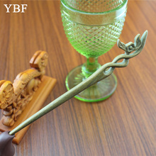 YBF Pure handmade Hairwear Green Sandalwood Barrettes Philadelphus Hair Sticks hairpins Wood Pins Comiya Novelty Jewel craft