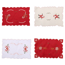 2017 43x28cm Table Mats Christmas Decoration Santa Clause Bell Plate Mat Set Kitchen for Xmas Home Restaurant Dector Hot Sale