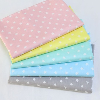 50x160cm 100% Cotton Fabric Pink/Yellow/Blue/Grey Star Print Fabric for Sewing Patchwork Cotton Baby Doll