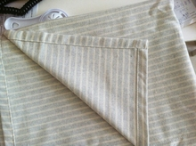 Streaks table cover grey rectangle cotton fabric gray tablecloth natural solid green stripes simple Japanese zakka(China)
