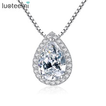 LUOTEEMI  Luxurious S925 Sterling Silver Pendant Necklace Water Drop Shape Clear Zircon with Tiny Cubic CZ Jewelry of Silver
