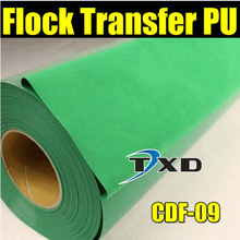 Green flocking transfer pu for shirts, heat transfer flock PU Vinyl for garment with free shipping size:50CMX100CM/LOT