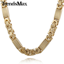 Trendsmax Customize ANY Length 8mm Gold-color Flat Byzantine Link Stainless Steel Necklace Mens Chain Bracelet KN275 KB403(Hong Kong)