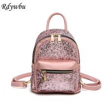 Rdywbu 2017 Fashion Purple Pink Silver Black MINI Shiny Bag Glitter Women Sequins Backpacks Teenage Girls Rucksack Mochilas H77