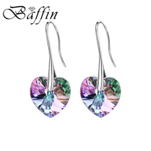 BAFFIN Crystal Heart Drop Earrings Made with SWAROVSKI ELEMENTS Silver Color Hanging Piercing For Women Best Friends Gift(China)