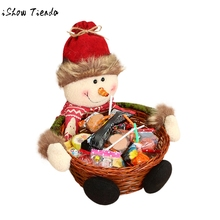 Christmas Candy Storage Basket Decoration Santa Claus Snowman Storage Baskets Gift kids holiday gift New Year 2018 decoration(China)