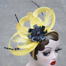 Elegant Sinamay Fascinator Hat Yellow Feather Black Flower Headwear Women Headbands For Derdy Race Cocktail Party Wedding Church(China)