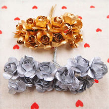 12pcs artificial mini lovely paper roses bouquet wedding decoration DIY wreath gift box scrapbook decoration process flower(China)