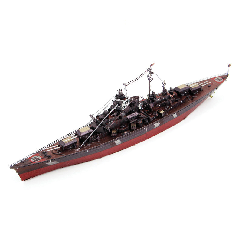 Colorized BISMARCK BATTLESHIP model kit laser cutting 3D puzzle DIY metal Piececool model jigsaw best gift for kids educational(China (Mainland))