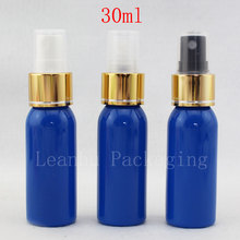 30ml Round True Blue Plastic Toner Bottles With Spray Pump,Empty Cosmetic Containers,Perfume Spray Bottle,Small Sample Bottles(China)