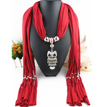 2017 Statement Scarf Necklace Vintage Alloy Owl Pendant Silk Scarf Necklaces Women Collier Femme Scarf Necklace Jewelry Bijoux