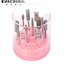 New 48 Holes Nail Drill Bit Holder Exhibition Stand Display With Acrylic Cover Pro Nail Art Container Storage Box Manicure Tool