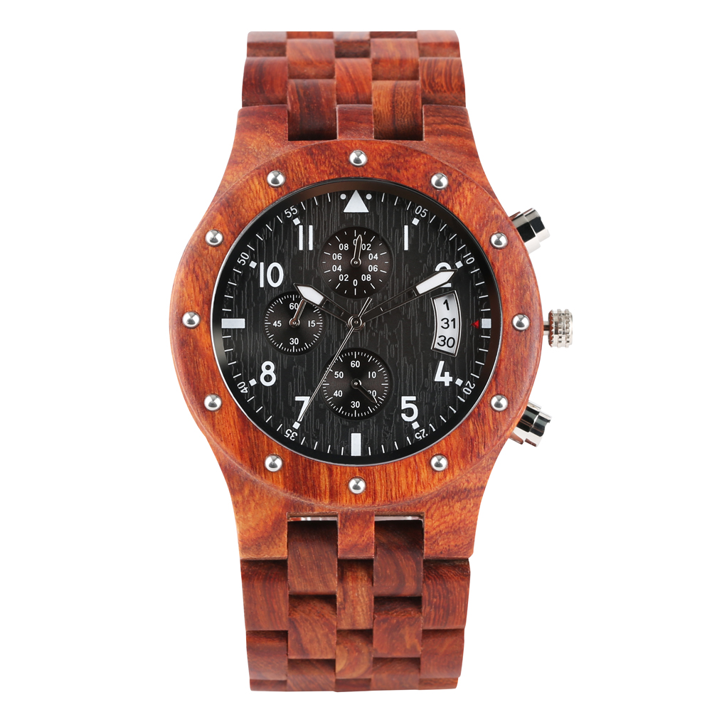 Wood-Watch Perfect-Gift Brown Sandalwood Red Calendar Dial Quartz Casual Fashionable title=