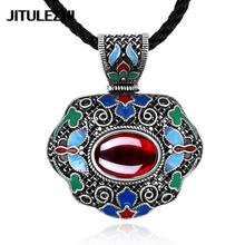 Women's Tibetan silver crystal Necklace pendant women's jewelry collares mujer bijoux gift jewelry Jewelry supplier gift