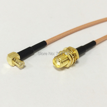 SMA female bulkhead  to MCX male right angle RF cable assembly RG316 15cm 6inch NEW wholesale