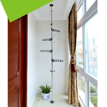 ABS PP Steel Floor to Ceiling Coat Rack Laundry Tension Mounted Clothes Drying with Standing Type Clothing Hanger