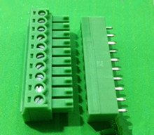 2 sets 3.81 10pin Terminal plug type 300V 8A 3.81mm pitch connector pcb screw terminal block free shipping
