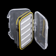 106*76*37mm Plastic Waterproof fly fishing Double Side Clear Slit Foam fly Fishing Box FLY BOX Tackle Case Box free shipping