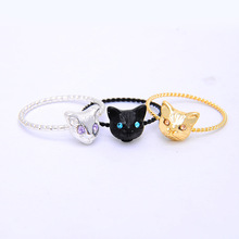 Drop Shipping 2016 New Arrival Cute Cat Head Finger Rings for Women Comes In Gold, Silver And Black Metal Colors