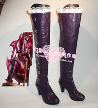 LOL Heart Seeker Ashe Purple Halloween Long Cosplay Shoes Boots H016