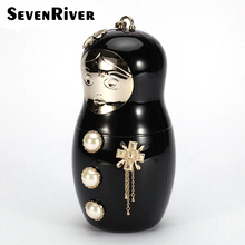 Designer Cute Russian Doll Clutch Bag Fashion Matryoshka Ladies Party Acrylic  Evening Handbags and Purses