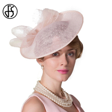 FS 2017 Fashion Summer Woman Pink Linen Pillbox Hat Elegant Ladies Weddings Dress Hats Banquet Party Cap