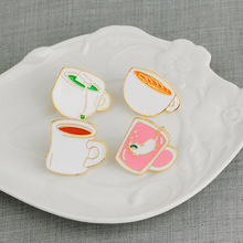 Buy New creative fun green tea cup coffee cup funny kitten zinc alloy clothing accessories jewelry brooch for $0.60 in AliExpress store