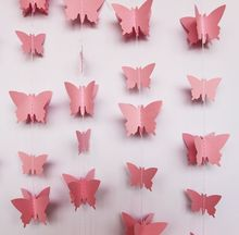 2pcs 3D Paper Butterfly GARLAND Pink wedding garland - Girls' Birthday decoration
