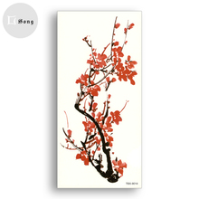 Waterproof Tattoo Stickers Temporary fake Tattoos Red plum blossom chinese watercolor painting girl Women sexy Body Art cosmetic