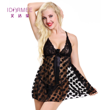 Buy IDARMEE S6556 Plus Size Underwear Women Erotic Lingerie White Dot Lace Sexy Transparent Babydolls Chemises Exotic Apparel