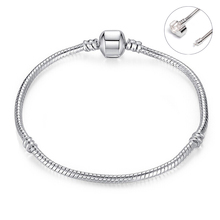 16 - 21 CM Silver Color Smooth Diy Base Chain Charm Bracelets Women Snake Chain Bracelet Men Fit Safe Clasp Bracelet & Bangle
