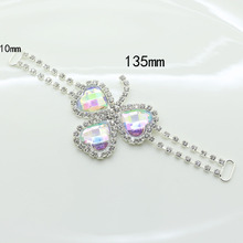 Romantic Heart 4pc 135*10mm AB color Crystal Rhinestone Bikini Connector Buckle silver  Chain Fit for Swimming Wear Bridal Dress