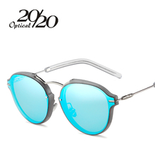 20/20 New Fashion Women Sunglasses Classic Brand Designer Coating Pink Mirror Flat Panel Lens Summer Shades Glasses(China)