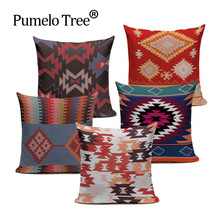 High-end digital print blue red Turkish ethnic kilim diamond pattern pillow case cushion cover for sofa home decoration throw
